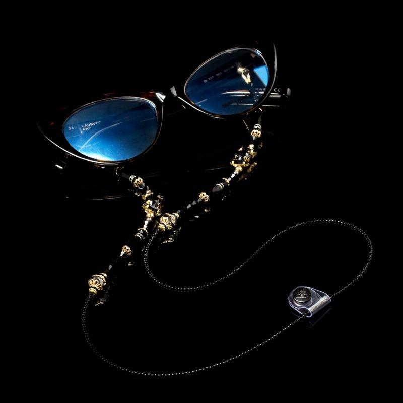 "Glasses Chain ""Black Crystal"""